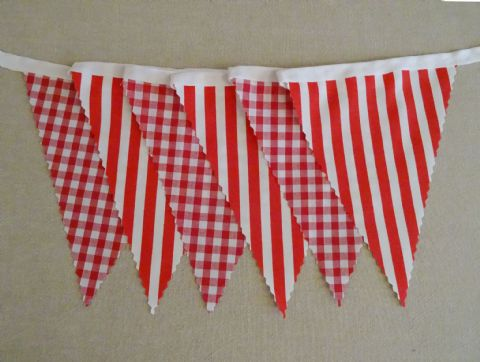 BUNTING Red - Gingham and Stripe on White Tape - 3m/10ft, 5m/16ft or 10m/32ft